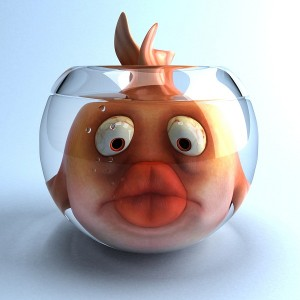 Cartoon goldfish too big for glass bowl with large fish lips
