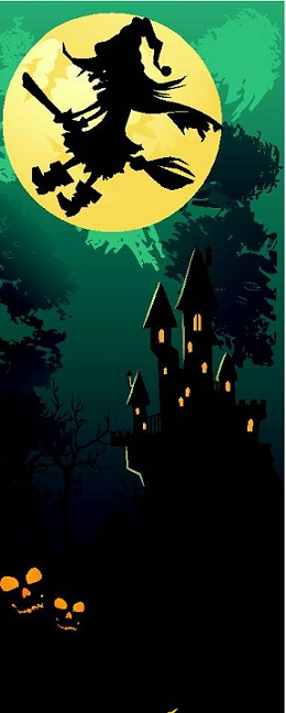 Cartoon in green of witch flying over a creepy castle with a full moon backdrop