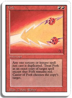 A card called Fork from the card game Magic with a complicated set of instructions written on it.
